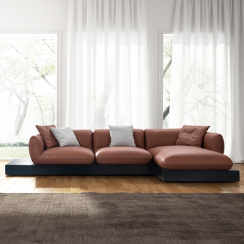 Simple Wooden Base New L Shape Sofa Designs With Bubble Soft Leather  Cushion Arm