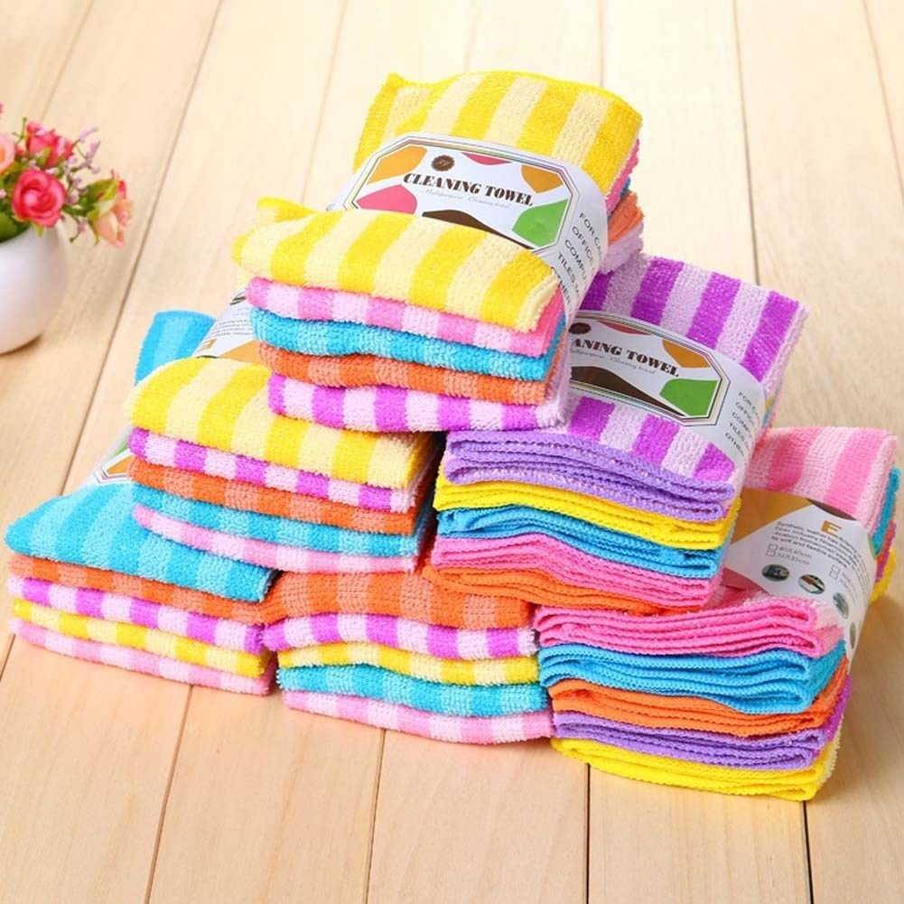 NPLE--5pcs Absorbent Microfiber Towel Home Kitchen Washing Clean Wash Cloth Hot new