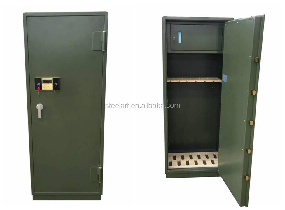 Metal military gun cabinet and weapons safe locker for sale