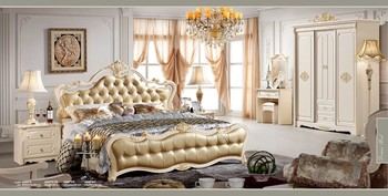 Rd680 Pearl White Gold Leaf King Queen Size Bed 6pcs Bedroom Home Furniture Set Leather