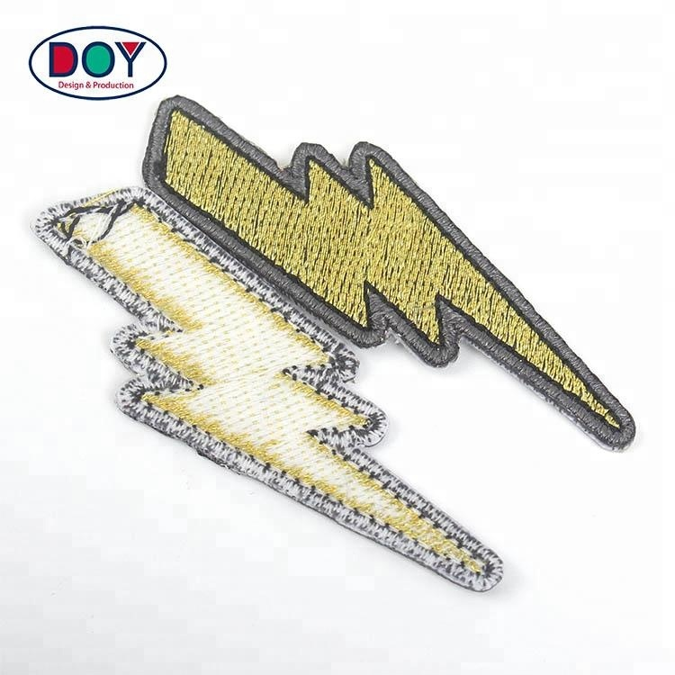 Private Designs Iron-on Custom Lighting Logo Applique Laser Cut Machine Embroidery Patches for Jeans фото