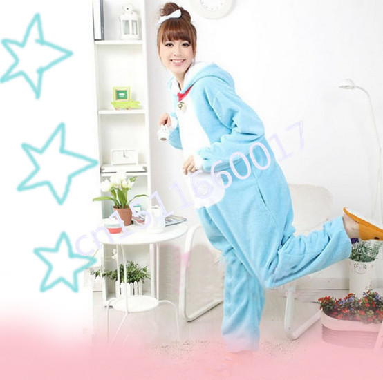 Blue Machine Cat Hooded Soft Flannel Fleece Material Pajama For Adults Funny Cosplay Costume Home Suit Cute Pajamas Onesie