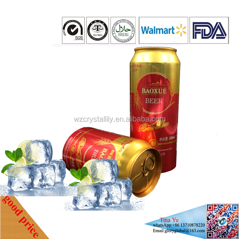 500ml OEM High Quality Malt Beer with glass bottle or 500ml Aluminum tin from factory with Walmart ID,HACCP,ISO certficate