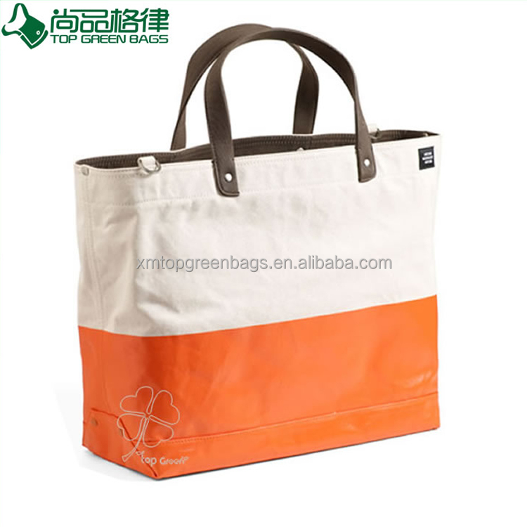 Fashion Canvas Tote Bags With PU Leather Handles ,Canvas Leather Tote bag