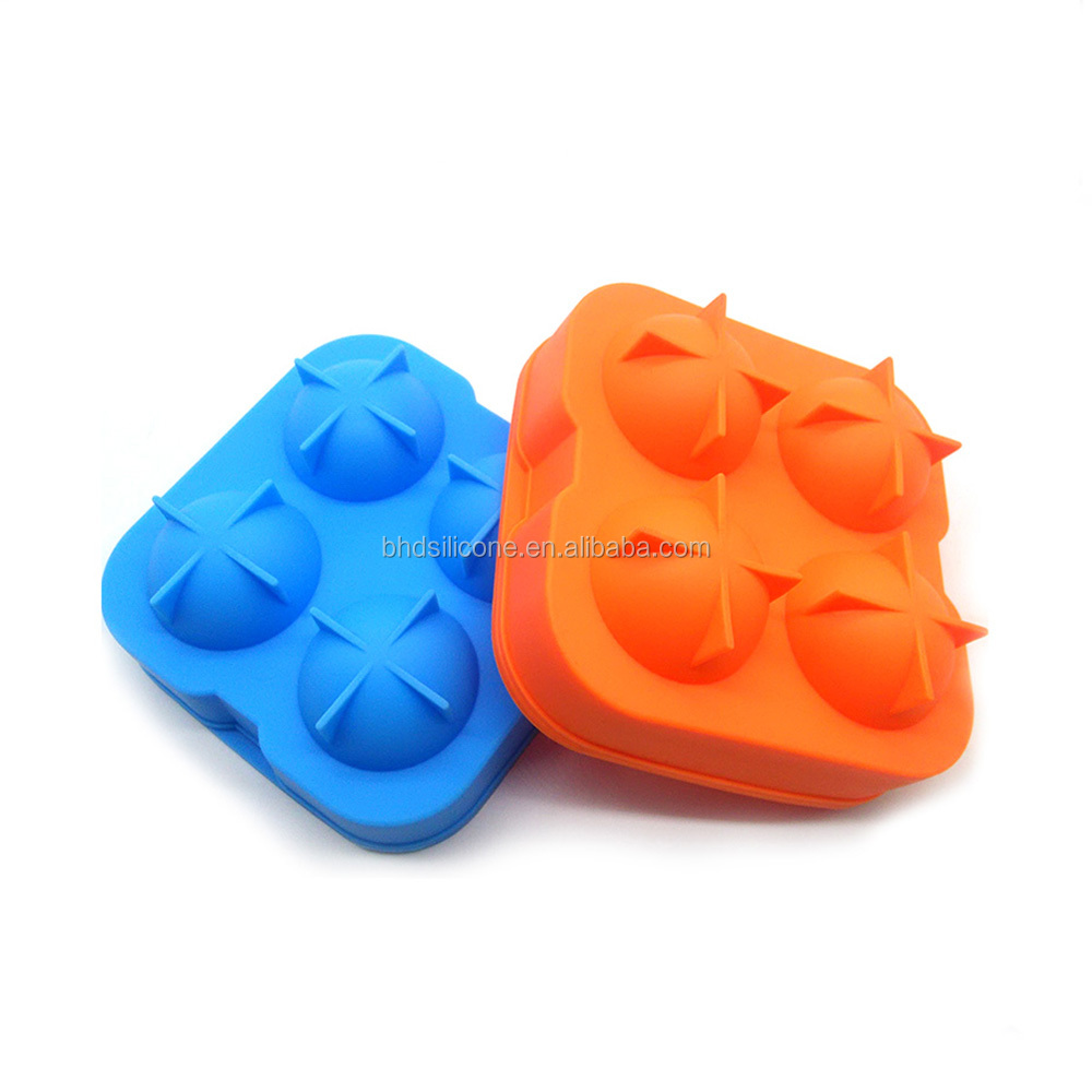 Ice Ball Maker Creates Round 4 Cavities silicone ice ball mold, silicone ice ball maker