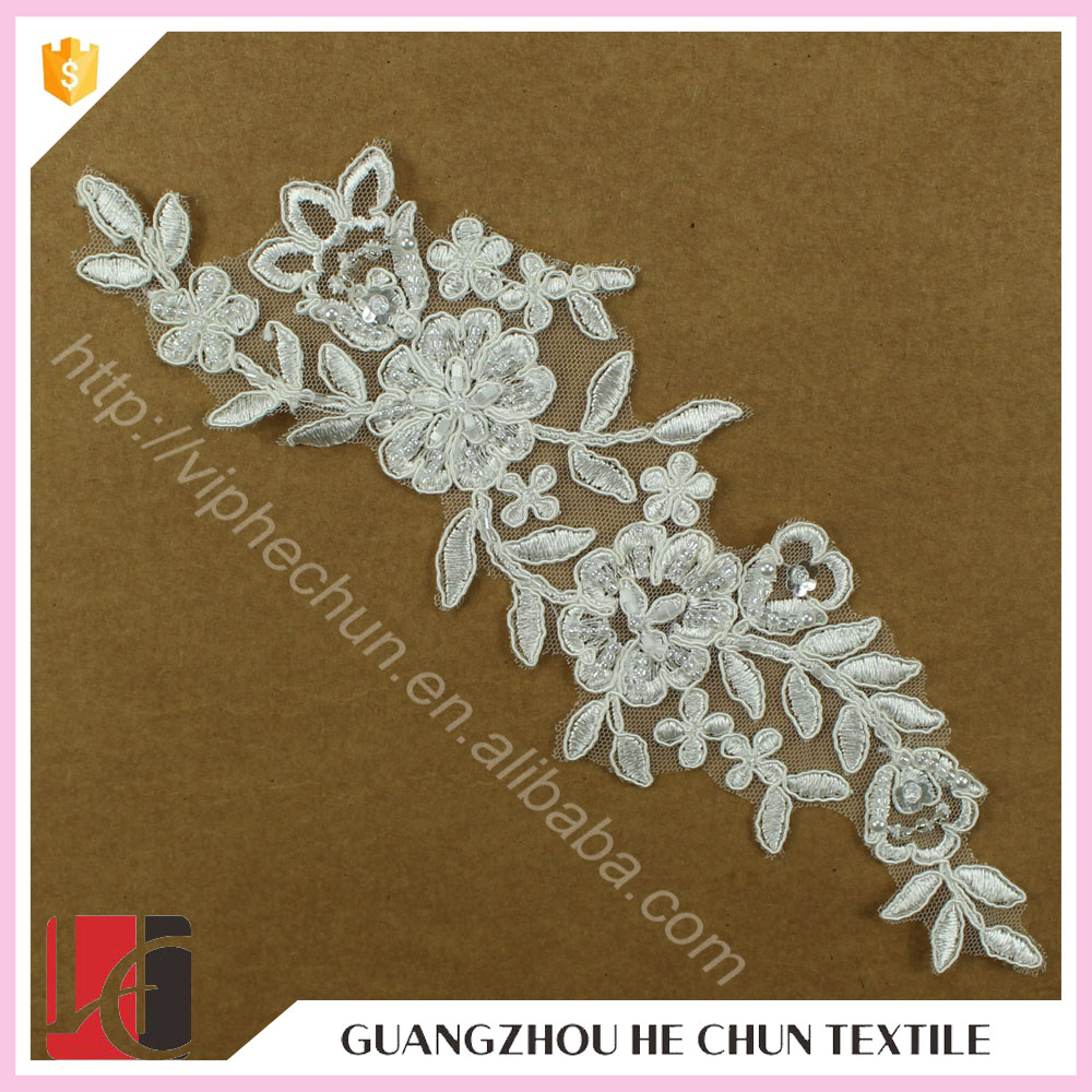 HC-2685-1 Hechun Hot Sale Exquisite Crochetted Lace Crochet Bridal Applique