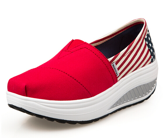 b8fbb3c5935e Get Quotations · 16 Colors Swing Evalator Korean Style Flag Star Stripe  Platform Women Wedge Sneakers Low Canvas Shoe