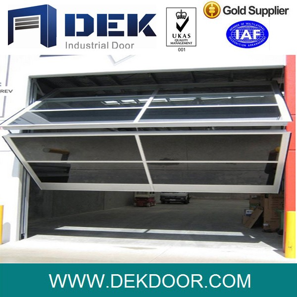 Modern Transparent Automatic Aluminum Frame Glass Panel Vertical Bifold Garage Door With Remote Control