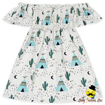 2018new Design Printed Cartoon Summer Baby Girl Off Shoulder Dress