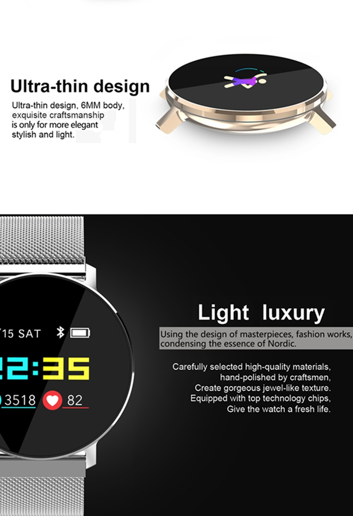 Smart Watch T5 Android IOS Heart Rate Smart Bracelet 잠 Monitor 피트니스 추적기 색 스크린 방수 Round Multisport Band