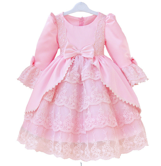 2016 New Brand Girl Ball Gown Princess Dress Cake Dress Big Bow Beautiful Formal Kid Costume