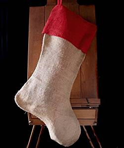 "AK-Trading Burlap Jute Holidays Christmas Stockings - Pack of 9 - Natural Jute Stocking with Red Cuff, 10"" 24""H x 14"" foot"