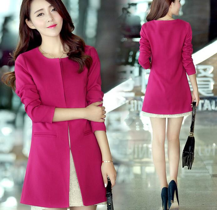 cceedc354af45 D60265h 2015 ملابس ربيع الخريف جديدة الكورية المرأة طويلة المعاطف الغبار  معاطف كبيرة الحجم أزياء ضئيلة