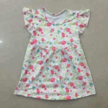 Koti style clothes flutter sleeve floral print baby girls' names princess dress spring summer clothing