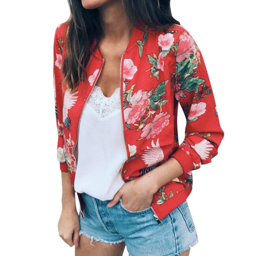 Sikye Women Jacket Coat,Ladies Floral Zipper Up Casual Coat Winter Street Women Bomber Jacket