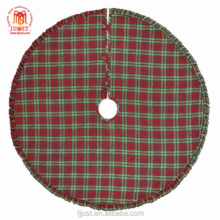 Hot Selling Ruffled Burlap Red Christmas Tree Skirt