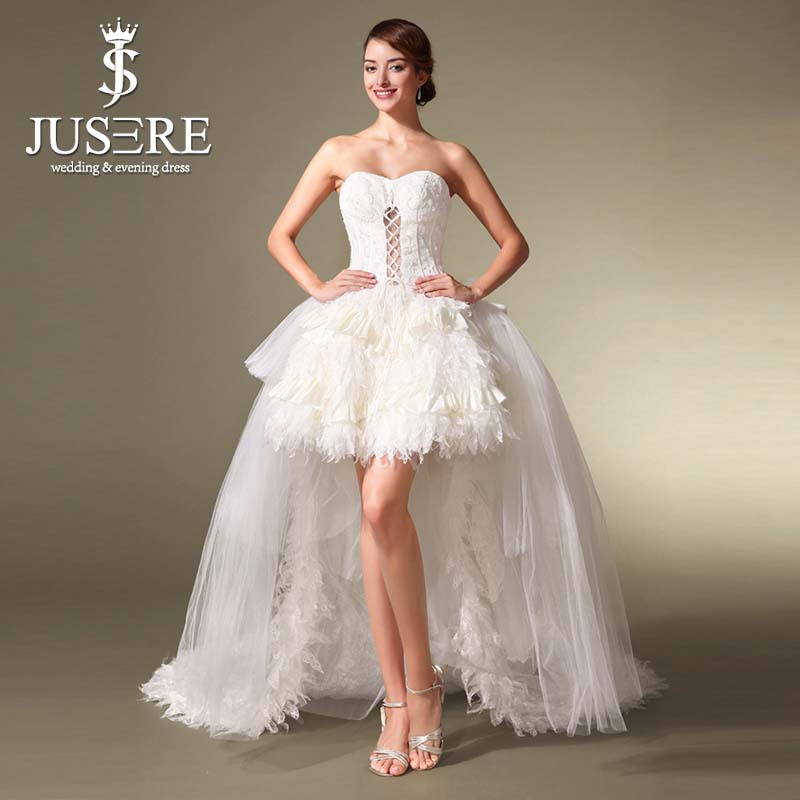 Beautiful Sweetheart Knee Length Short Feather Skirt Wedding ...
