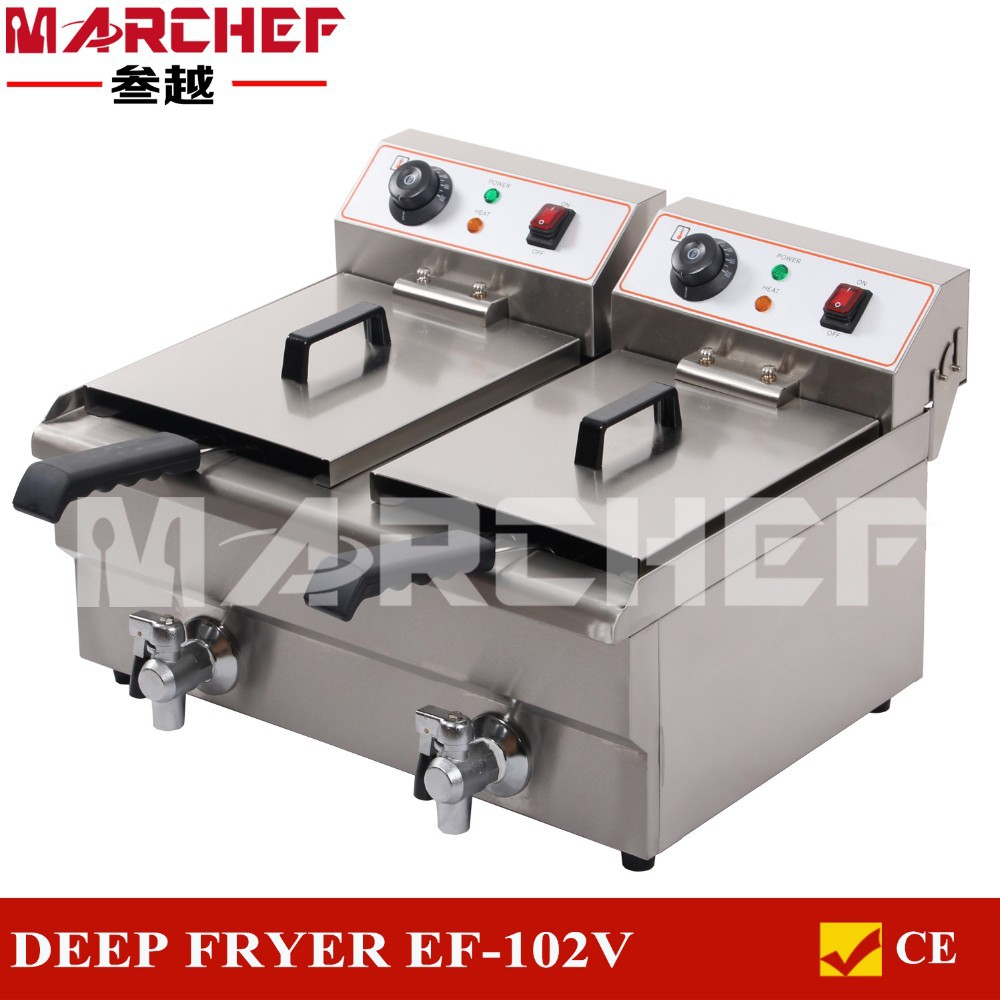 20L Double Tanks Stainless Steel Deep Fryer _ Commercial Electric Fryer _ Deep Fat Fryer