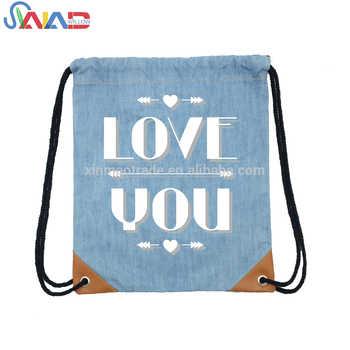 2018 Heavy denim canvas cute drawstring backpack shoulder bag with inner pocket