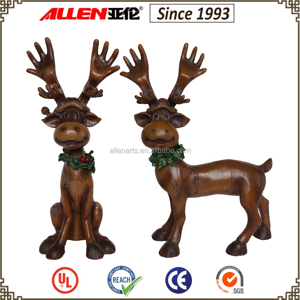 "11.4"" Christmas moose statue, Christmas deer statue, wood finish resin deer sculpture"