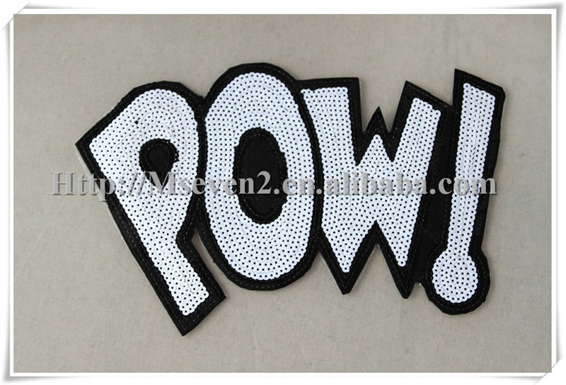 POW letter shaped sequins applique iron on embroidered letters patches sequin