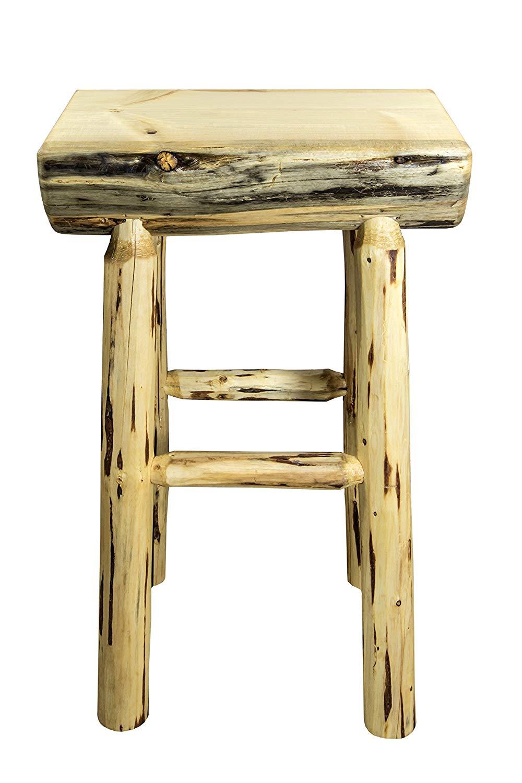 Montana Woodworks Montana Collection Half Log Barstool with Exterior Finish