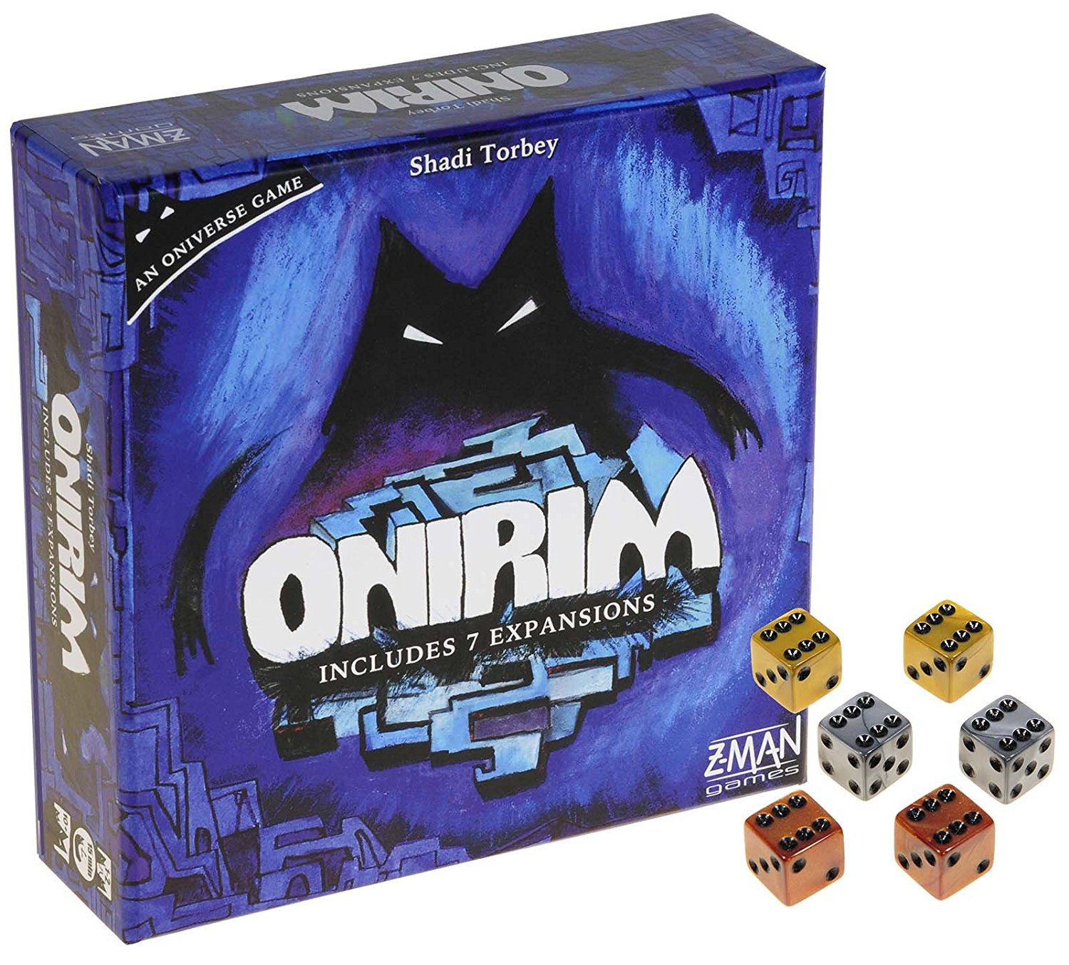 Onirim Card Game with 7 Expansions _ Bonus Set of 2 Gold, 2 Silver, and 2 Bronze Swirl d6 Game Dice _ Bundled Items