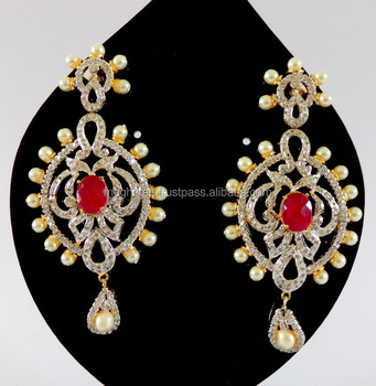 Indian Fancy Pearl Earring American Diamond With Designer