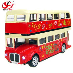 1:28 Die cast double-decker bus DIY die cast toy