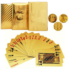 100% New Brand 3Designs Waterproof 24K Gold Foil Plated Poker playing cards Plastic Poker