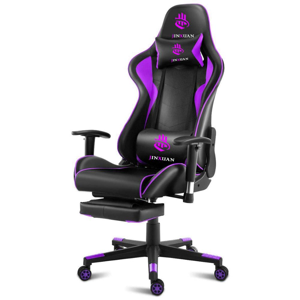 Steel series gaming chair pu material pc gamer chair purple mental frame gaming chair with high density foam
