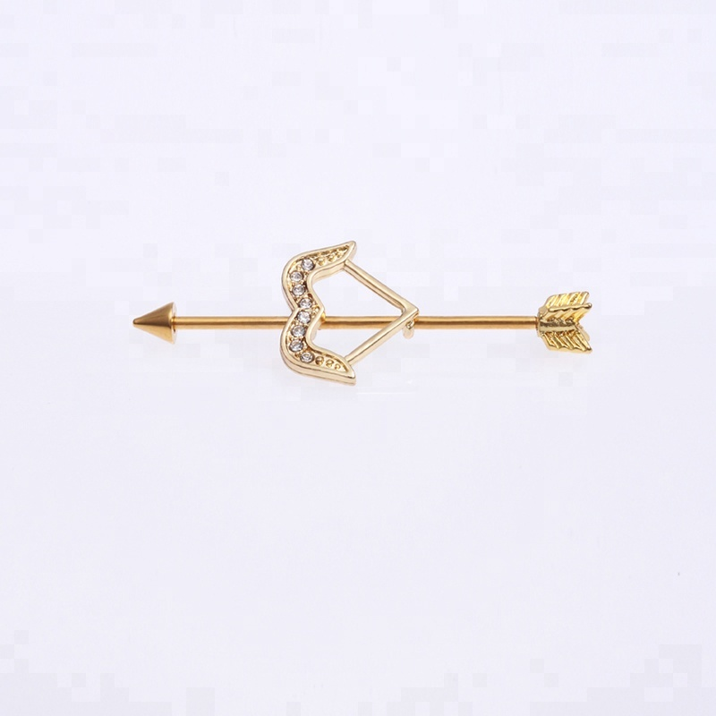 Anodized gold jeweled bow arrow industrial barbell piercing jewelry