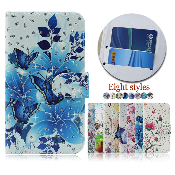Wholesale color printing crystal diamond case cover for Tecno C9 , flip leather case for Tecno C9