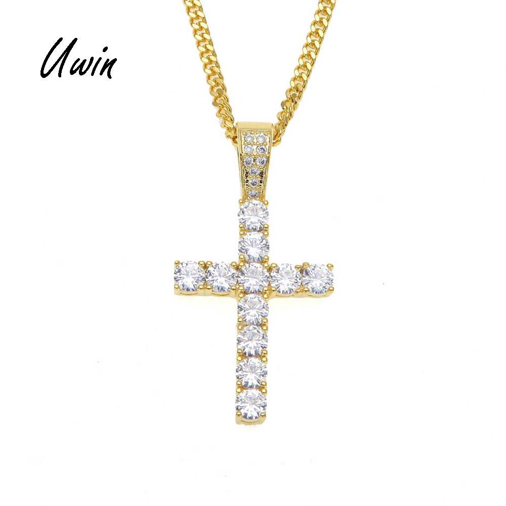 UWIN Hiphop Gold Plated Iced Out Cross Custom Sterling Silver Diamond CZ Cross Pendant фото