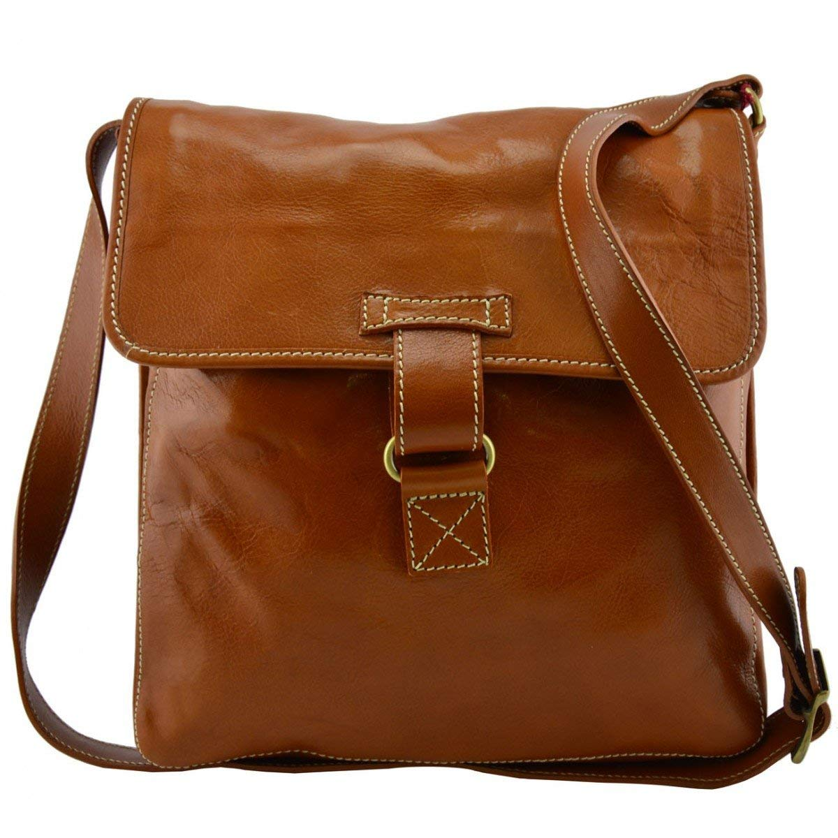 Dream Leather Bags Made in Italy Genuine Leather Genuine Leather Crossbody Bag Color Cognac