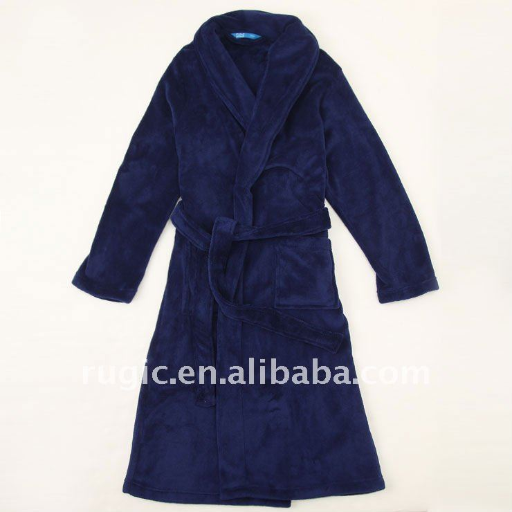 kids coral fleece bathrobe solid plain dyed