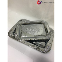 Ramadan Pure Iron-plated Service Tray Buffet Tray with Plastic Handles