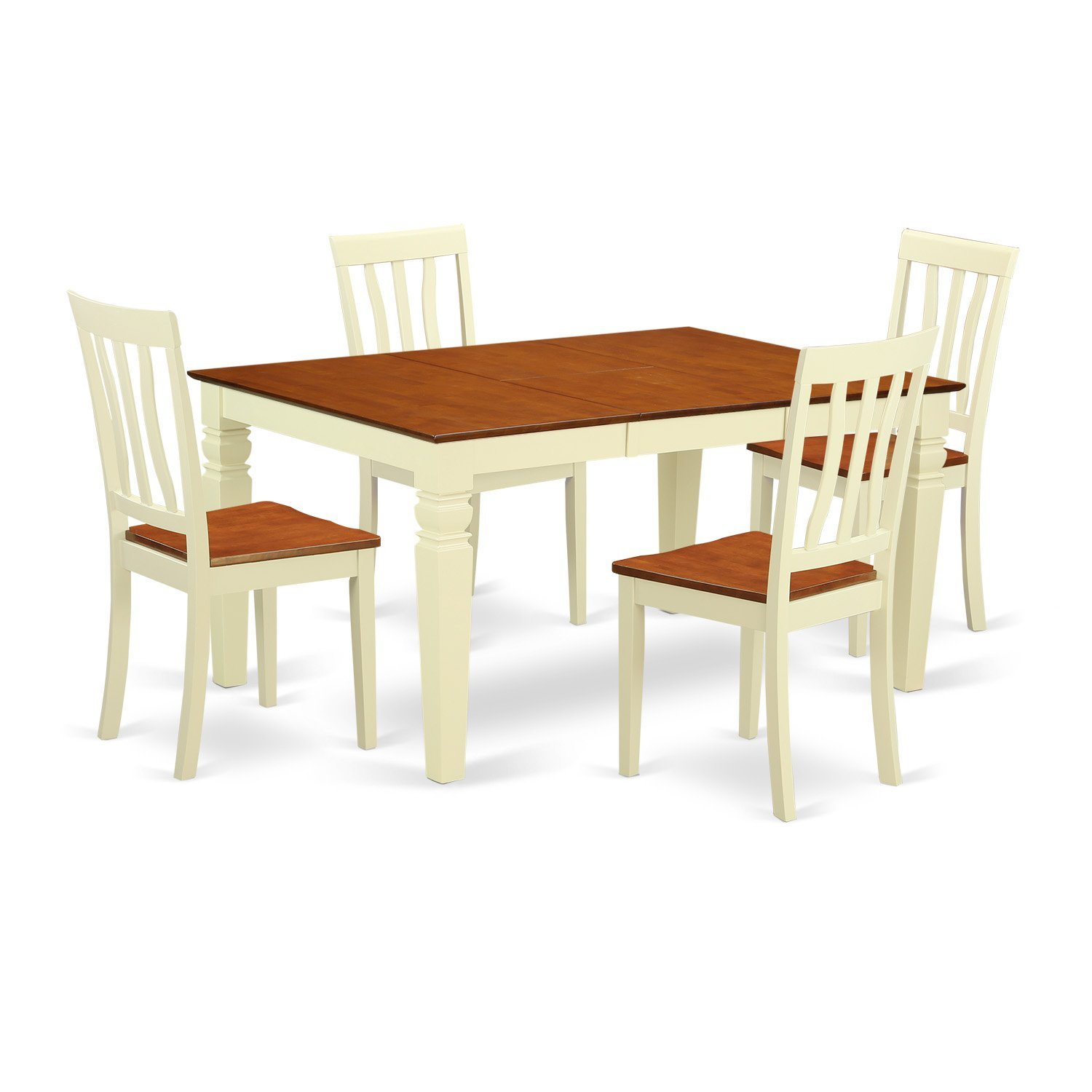 East West Furniture Weston WEAN5-BMK-W 5 Pc Kitchen Set Table and 4 Wood Dining Chairs, Buttermilk and Cherry