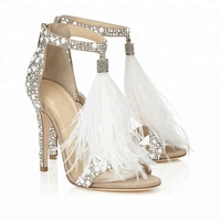 2018 Fashion Glary Rhinestone Stiletto High Heel White Tassel Embellished Bridal Wedding Shoes