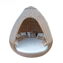 Nestrest Durable Outdoor Garden Pool Round Sofa Bed Patio Woven Rattan Beds