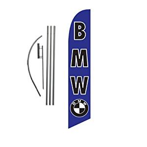 Custom BMW 15ft Feather Banner Swooper Flag Kit - INCLUDES 15FT POLE KIT w/ GROUND SPIKE