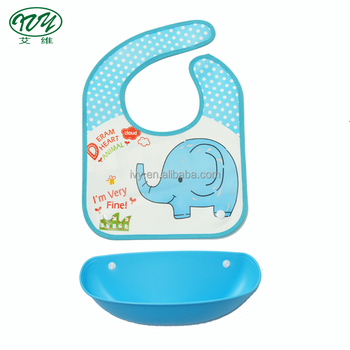 Foldable Waterproof Silicone Baby Feeding Bibs With Detachable Food Catcher Soft and Comfortable
