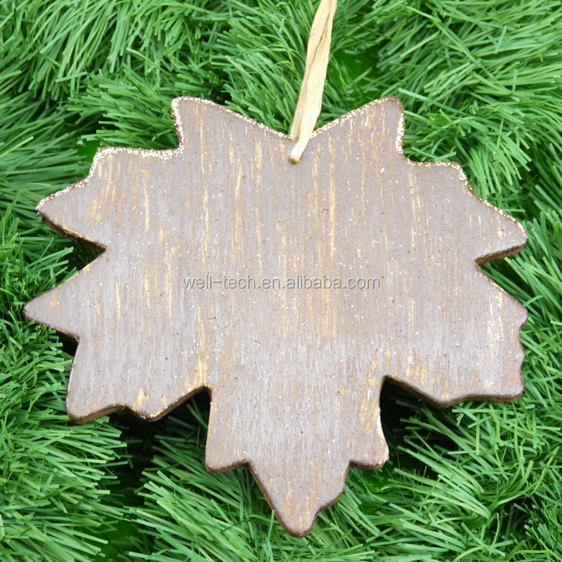 "7"" EVA wood-look Maple leave hanging ornament Christmas decorations"