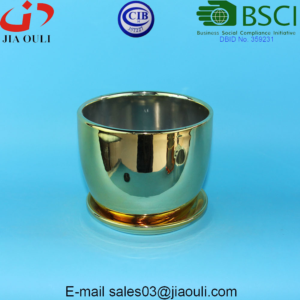 Quality Plating gold / copper Ceramic Plant Pots with Saucer