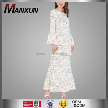 Newest fashion long printing baju kurung modest muslim women clothing