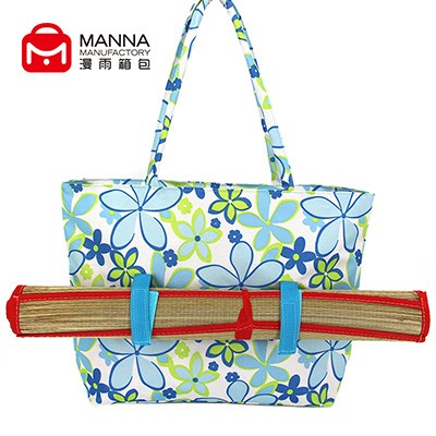 China factory wholesale custom tropical pattern canva beach handle big bag