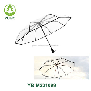full automatic transparent 3 folding best selling fashion umbrella with metal frame