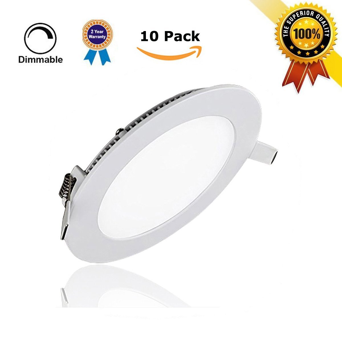 10 Pack 6W Flat LED Panel Light Lamp, szwintec Dimmable Round Ultrathin LED Recessed Downlight, 480LM, Cool White 5000K, Cut Hole 4.1 Inch, Panel Ceiling Lighting with 110V LED Driver