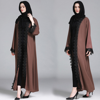 2019 Latest designs new fashion islamic Muslim women's cardigan gown lace hot style abaya
