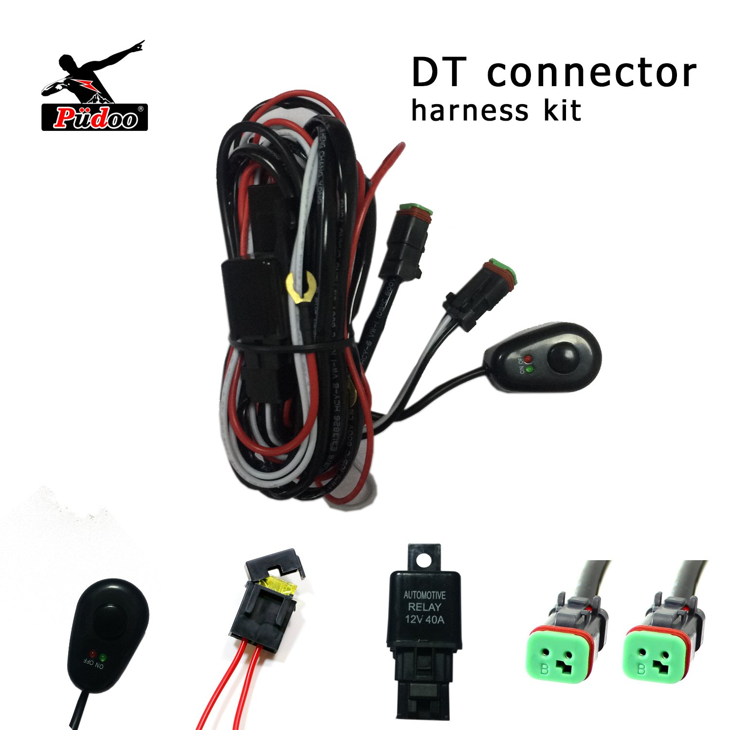 Pudoo Deutsch Wiring Harness Kit 12V 40Amp Fuse Relay ON/OFF Switch for Driving  Light